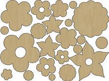 AdornIt (22) Laser-Cut WOOD SHAPES-FLOWERS scrapbooking