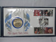 1992 UK (Great Britain) FDC Queen's Ruby Jubilee w/ 25 pence Coin