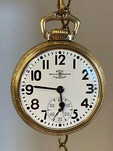 Gorgeous Hamilton Ball 999B Railroad Pocket Watch, 21j, 1944 - Cameo Fob, RUNS!