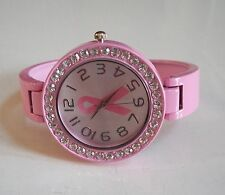 Ladies Pink Finish with Pink Breast Cancer Bangle Quartz Fashion Cuff Watch