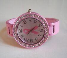 Ladies Pink Finish with Pink Breast Cancer Bangle Quartz Fashion Cuff Watch