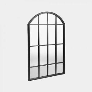Industrial Style Arched Black Mirror Outdoor Sleek Windowpane Frame Patio Garden