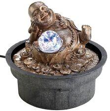 HAPPY BUDDHA w/ LIGHT-UP LED BALL TABLETOP WATER FOUNTAIN ** NIB