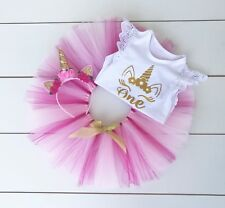 Pink & Gold Unicorn Theme Cake Smash Outfit - First Birthday Set - Photo Prop
