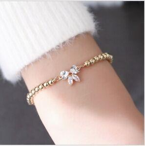 925 Sterling Silver plated Gift Butterfly Diamond Love Bracelet Shinny Crystal