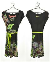 Womens Desigual A-Line Dress Black Viscose Belted Floral Short Sleeve Size L