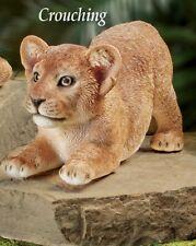 Adorable Crouching Playful Lion Cub Animal Garden Statue