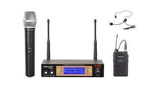 GTD Audio 2Ch UHF  Handheld Lavaliere Wireless Microphone Mic System  NEW 35HL