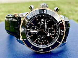 Breitling Superocean Heritage ii Men Chronograph Automatic Watch 44mm Black Gold