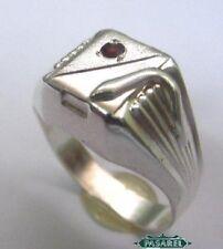 Sterling Silver Snake Signet Garnet Ring Size 6.25