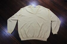 Vintage Brooks Brothers Yellow V-Neck Sweater Sea Island Cotton Mens Size 48