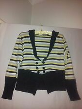 The Ark ladies striped cropped cardigan multi coloured size S wool blend