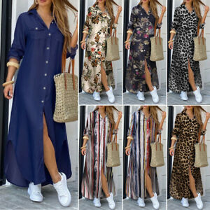 UK Womens Holiday Beach Long Sleeve Button Down Denim Maxi Shirt Dress Plus Size