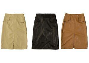 Women's Faux Leather Midi Skirt Knee Length PU Front Split Black Tan Beige