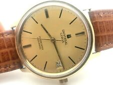 RARE UNIVERSAL GENEVE POLEROUTER DATE AUTOMATIC GOLD FILLED ORIGINAL DIAL CROWN