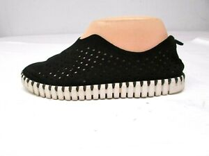ILSE JACOBSEN TULIP Black Perforated Slip On Shoes Sneakers sz 38 / US 7 - 7.5