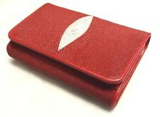 Genuine Stingray Wallets Skin Leather Short Trifold Red Purses Women's Clutch