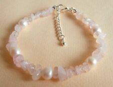 Rose Quartz Pearl Gemstone Healing Love Relationships Fertility Bracelet Gift Bg