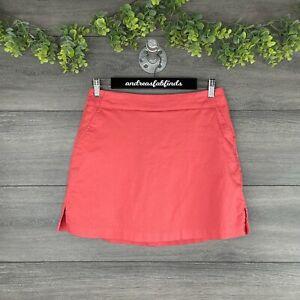 LADY HAGEN Golf Skort Skirt Womens 4 Coral Cotton Blend Stretch Pockets Tennis