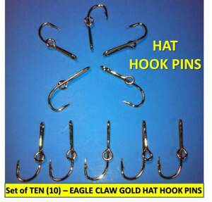 [10] EAGLE CLAW ORIGINAL GOLD-PLATED FISH HOOK HAT PINS/MONEY CLIPS - GREAT $$$