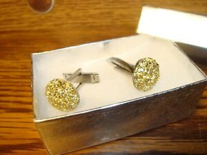 1 Pair (Two) GOLD Cluster BLING Design - 14mm Round Silver Plated Cuff links