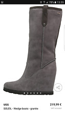 UGG AUSTRALIA FABULOUS GREY SUEDE SOLEIL KNEE HIGH WEDGE BOOTS SIZE 6.5 BNIB 1