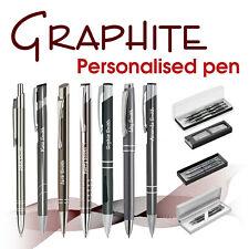 Promotional personalised pen * GRAPHITE * blue/ black ink * school leavers *Gift