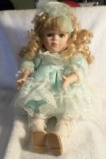 """Beautiful 12"""" Musical Porcelain Doll with Lovely Blonde Hair Blue Eyes &  Dress"""