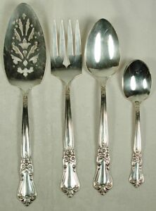 VALLEY ROSE ONEIDA WM A ROGERS SILVERPLATE 4 SERVING PIECES 1956