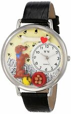 Whimsical Watches Begging Dog Lover Black Leather Strap Silver-Tone U0130009 NEW
