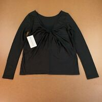 Athleta Women's Size Small Black Long Sleeve Waterfall Top NWT