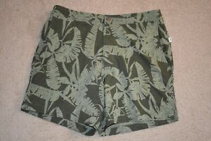ONIA XL Men's Mesh Lined Poly Spandex Shorts Green Palm Leaves