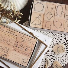Wooden Rubber Stamps Set Scrapbooking Handwriting Letters Frame DIY Diary Decor