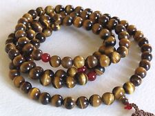 Rare natural stone Tiger's eye prayer necklace 108 Bead 10mm necklace 44 inch