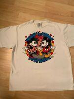RARE VTG 80's Colorblock Mickey Minnie Mouse Australia Disney T Shirt Sz L