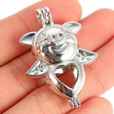 2Pcs Cute Flying Pet Pig Pearl Beads Cage Locket Pendant Essential Oil Diffuser