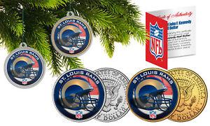 ST LOUIS RAMS Colorized JFK Half Dollar 2-Coin Set NFL Christmas Tree Ornaments