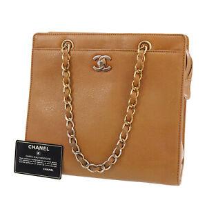 CHANEL CC Logos Hand Bag Brown Caviar Skin Leather Authentic #UU421 S