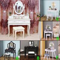 Vanity Makeup Dressing Table Set Stool 2/4Drawer & Mirror Jewelry Wood Desk