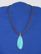 Ralph Lauren Silvertone Brown Leather Braid Turquoise Teardrop Pendant Necklace