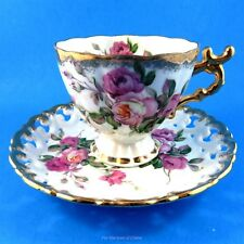 Reticulated Rose Bouquet Pedestal with Gold Handle Shafford Tea Cup and Saucer