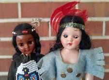 2 Vintage Plastic Duchess Dolls Strung Sleep Eyes Native American Ethnic
