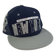 NEW YORK 3D EMBROIDERED FLAT BILL TWO TONE (BLUE/GREY) COTTON SNAPBACK
