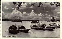River Craft Hooghly kleine Fischerboote Indien um 1945 Asien Asia Postcard