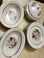 Embassy USA Vitrified Vintage Platinum Trim Rose China Dishes and Dinner plates