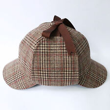 Sherlock Holmes Deerstalker Hunting Country Tweed Check Ear Flaps Wool  Blend Hat 8828cbf4de34