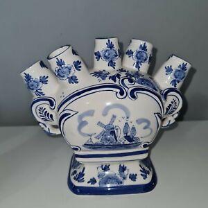 Vintage Flat Tulip Vase Delft Blue