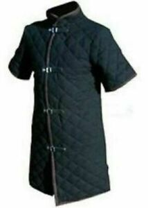 Thick black color viking Gambeson Medieval Padded collar short sleeves Armor ml1