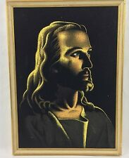 Vintage Jesus Black Velvet Painting Picture Framed Art Hand Painted Suh Kwang