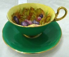 Aynsley Orchard Fruit Tea Cup & Saucer Set Emerald Green Signed D. Jones #2